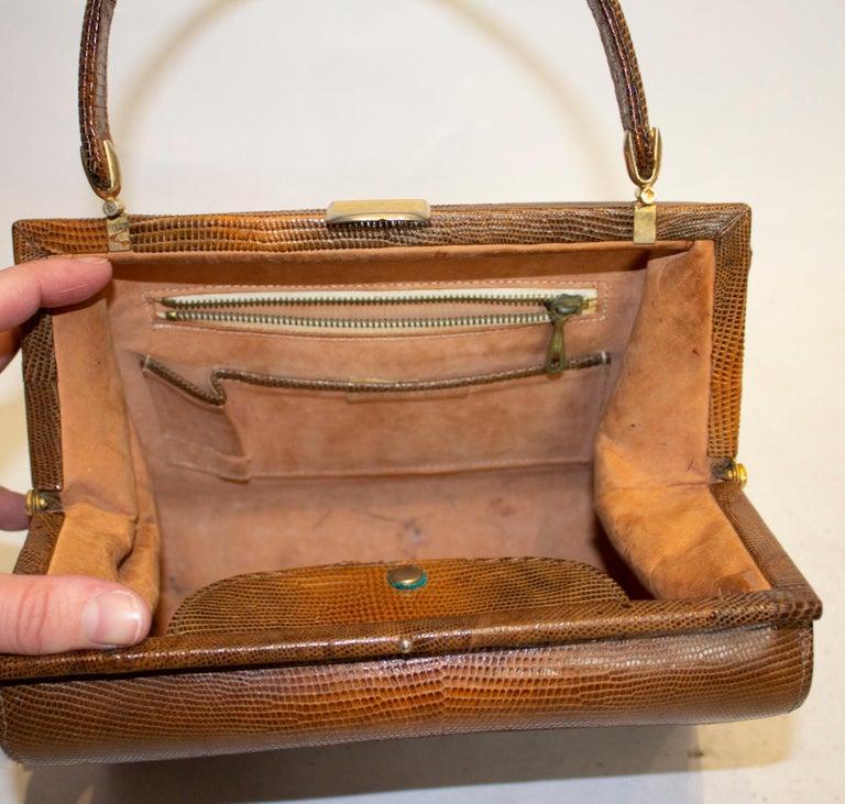 Vintage Brown Lizzard Bag For Sale 1