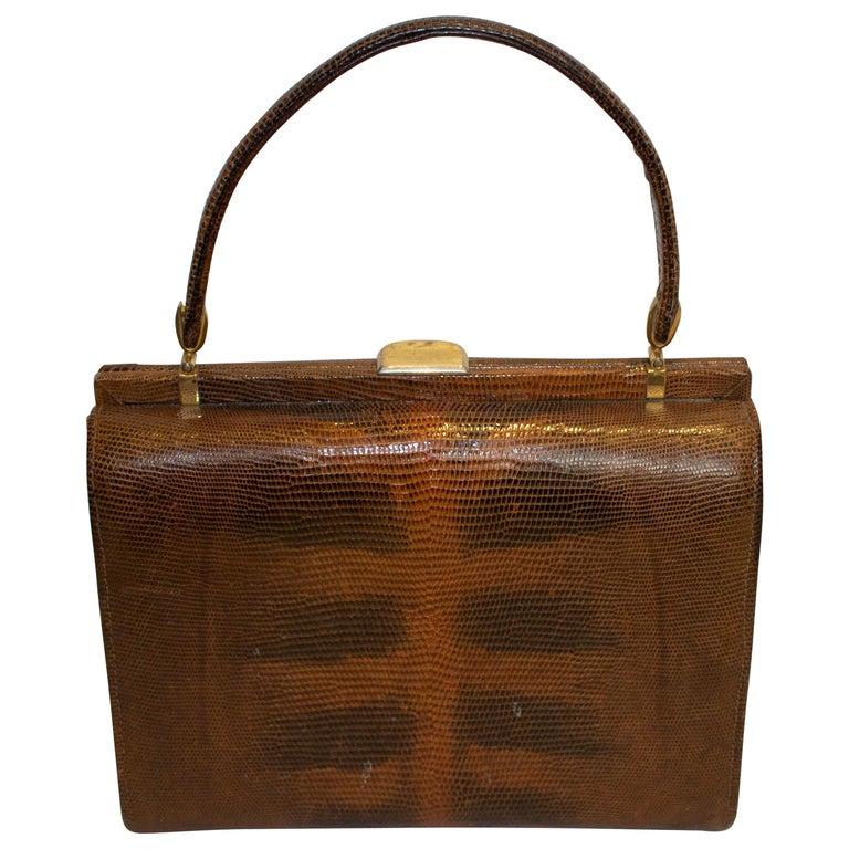 Vintage Brown Lizzard Bag For Sale