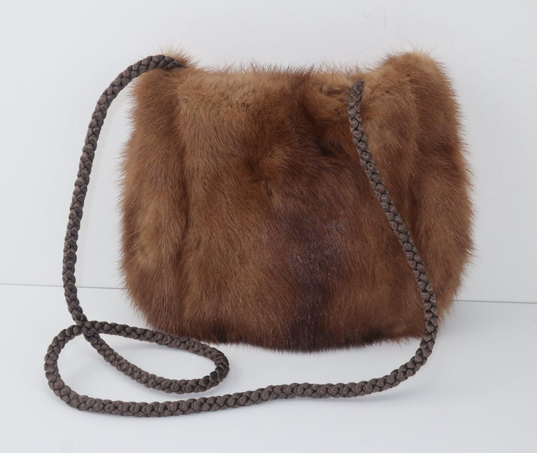 Vintage Brown Mink Fur Handbag With Braided Silk Shoulder Strap In Good Condition For Sale In Atlanta, GA