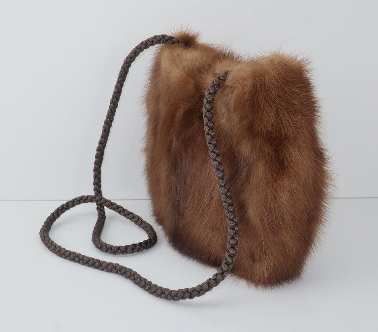 Women's Vintage Brown Mink Fur Handbag With Braided Silk Shoulder Strap For Sale