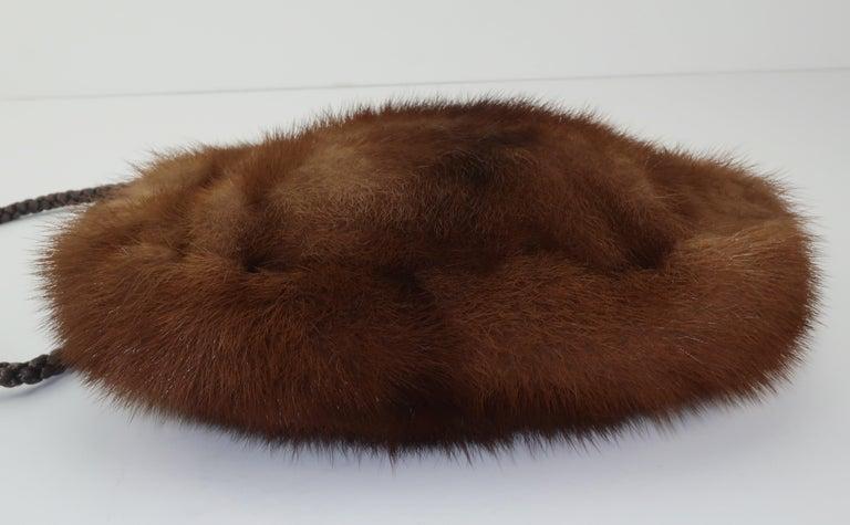 Vintage Brown Mink Fur Handbag With Braided Silk Shoulder Strap For Sale 1