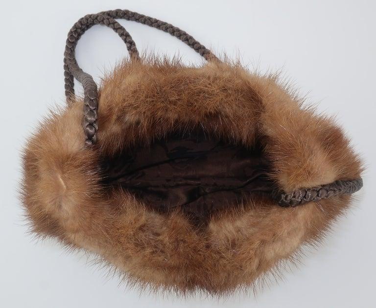 Vintage Brown Mink Fur Handbag With Braided Silk Shoulder Strap For Sale 2