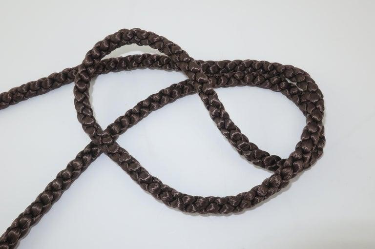 Vintage Brown Mink Fur Handbag With Braided Silk Shoulder Strap For Sale 4