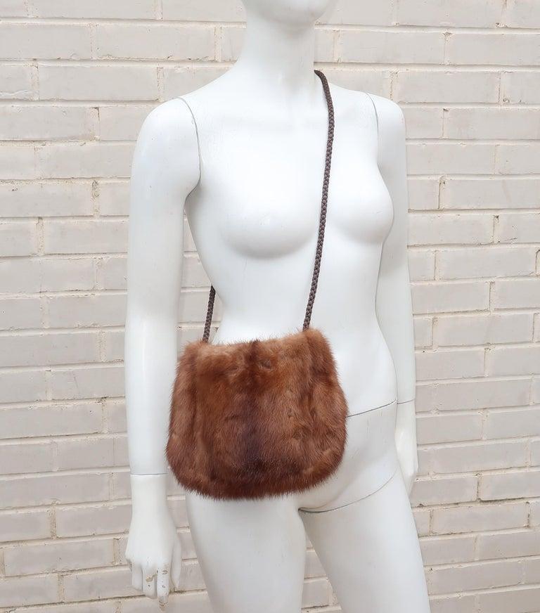 Vintage Brown Mink Fur Handbag With Braided Silk Shoulder Strap For Sale 5