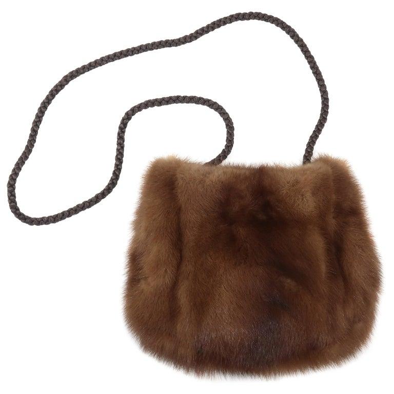 Vintage Brown Mink Fur Handbag With Braided Silk Shoulder Strap For Sale