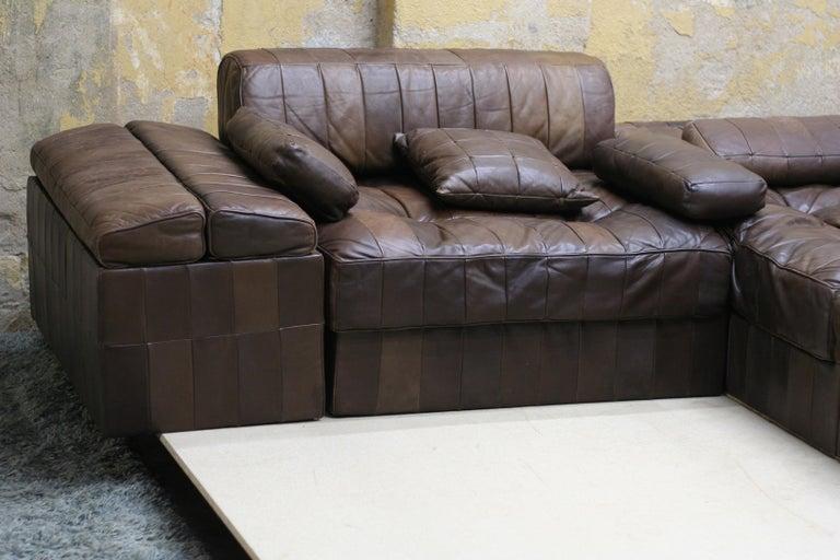 Swiss Vintage Brown Modular Patchwork Leather Sofa DS88, De Sede, 1970s, Switzerland For Sale