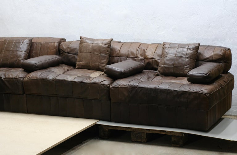Vintage Brown Modular Patchwork Leather Sofa DS88, De Sede, 1970s, Switzerland In Good Condition For Sale In Riga, Latvia