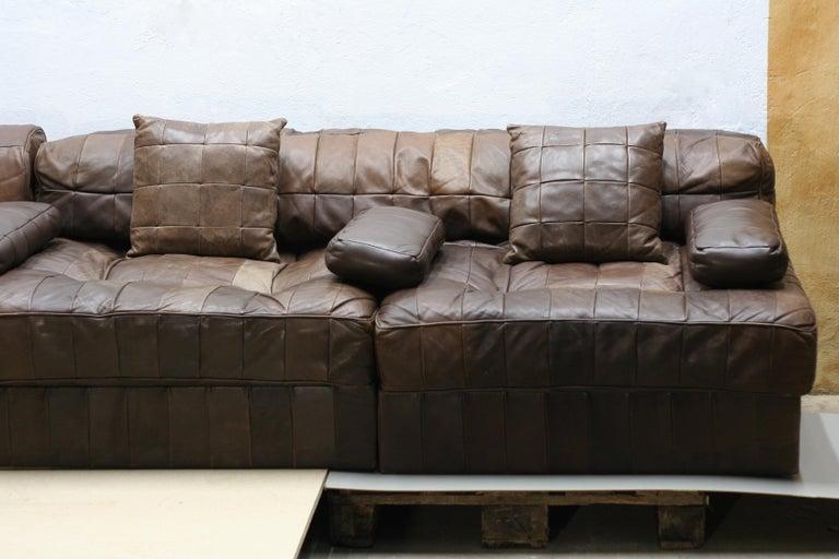 Vintage Brown Modular Patchwork Leather Sofa Ds88 De Sede 1970s Switzerland