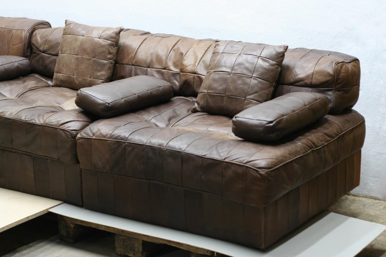 Vintage Brown Modular Patchwork Leather Sofa DS88, De Sede, 1970s, Switzerland For Sale 1