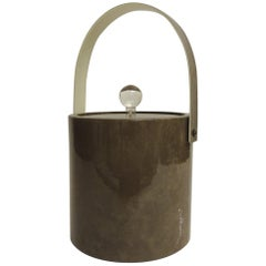 Vintage Brown Retro Ice Bucket with Handle and Lucite Handle