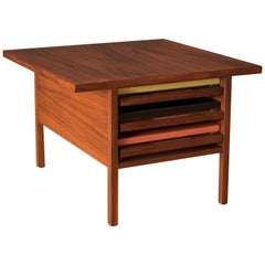 Vintage Brown Saltman Walnut Nesting Side Tables