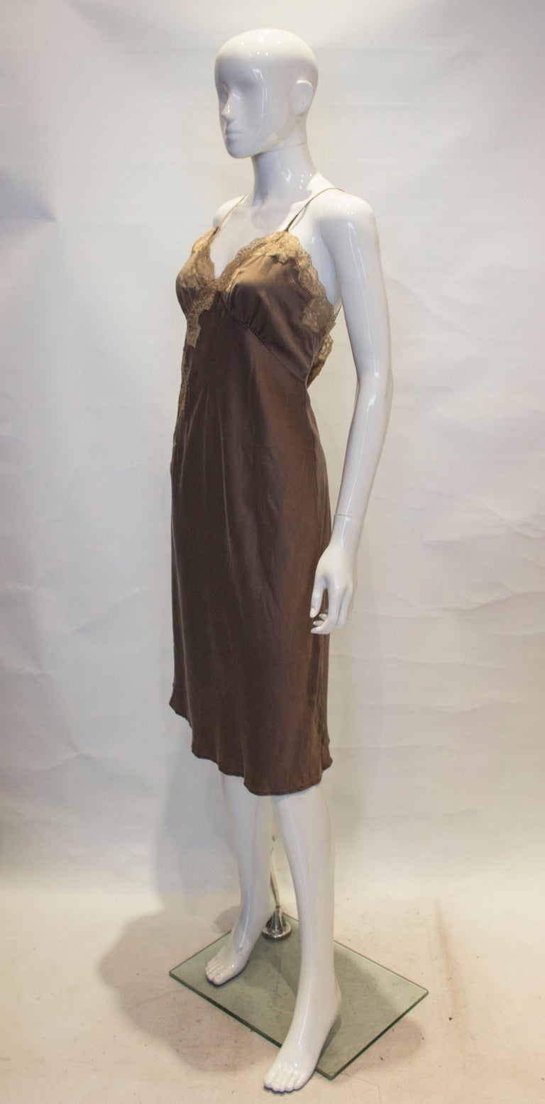 A Vintage Brown Silk Slip Dress with Lace Detail