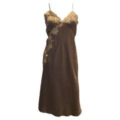 Vintage Brown Silk Slip /Dress with Lace Detail