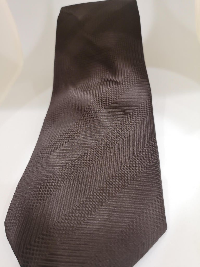 Vintage brown silk tie In Good Condition For Sale In Capri, IT