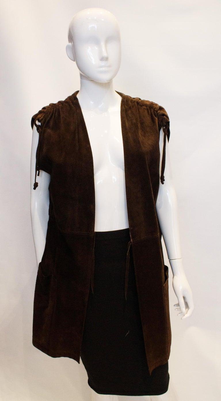 Black Vintage Brown Suede Waistcoat For Sale