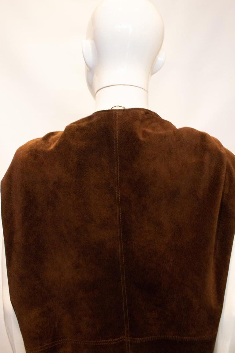 Women's or Men's Vintage Brown Suede Waistcoat For Sale