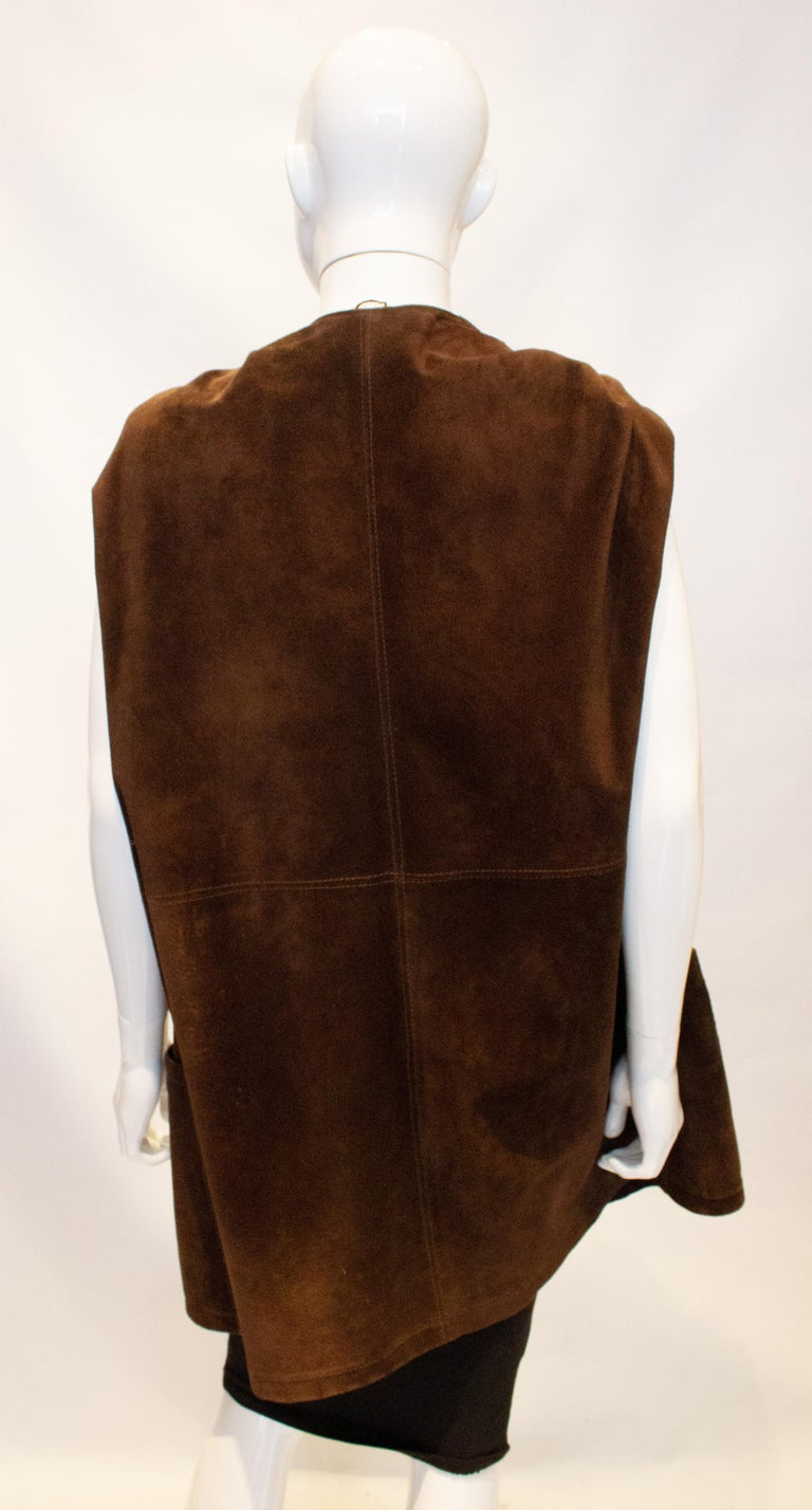 Vintage Brown Suede Waistcoat For Sale 2