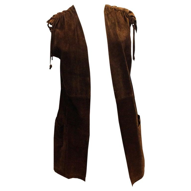 Vintage Brown Suede Waistcoat For Sale