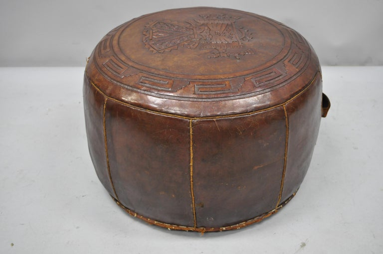 Vintage Brown Tooled Saddle Leather Peruvian Ottoman