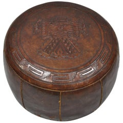 Vintage Brown Tooled Saddle Leather Peruvian Ottoman Hassock with Handle