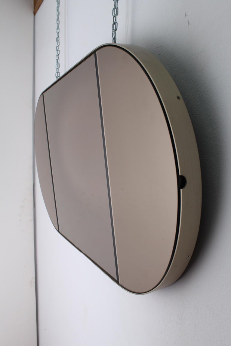 Mid-Century Modern Vintage Brown Wood Brass and Oval Mirror, Italy, 1960s For Sale