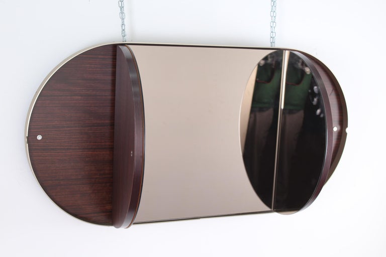 Italian Vintage Brown Wood Brass and Oval Mirror, Italy, 1960s For Sale