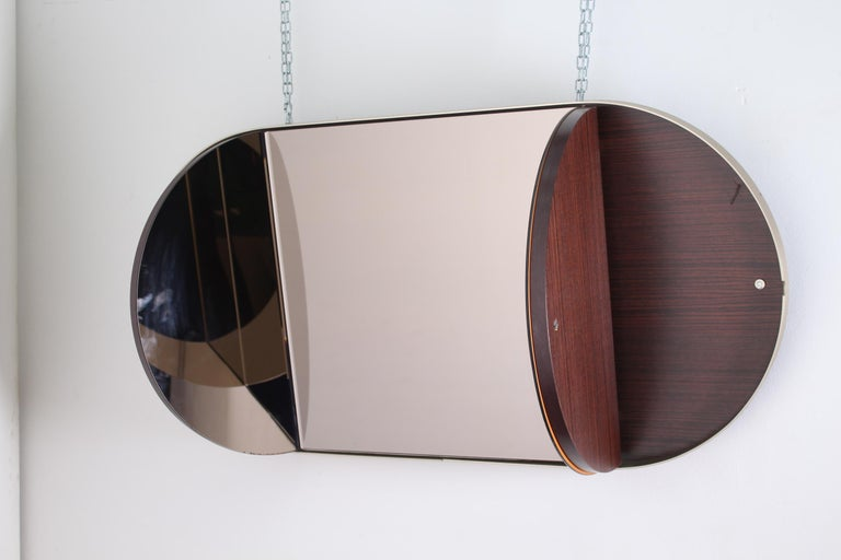 Mid-20th Century Vintage Brown Wood Brass and Oval Mirror, Italy, 1960s For Sale
