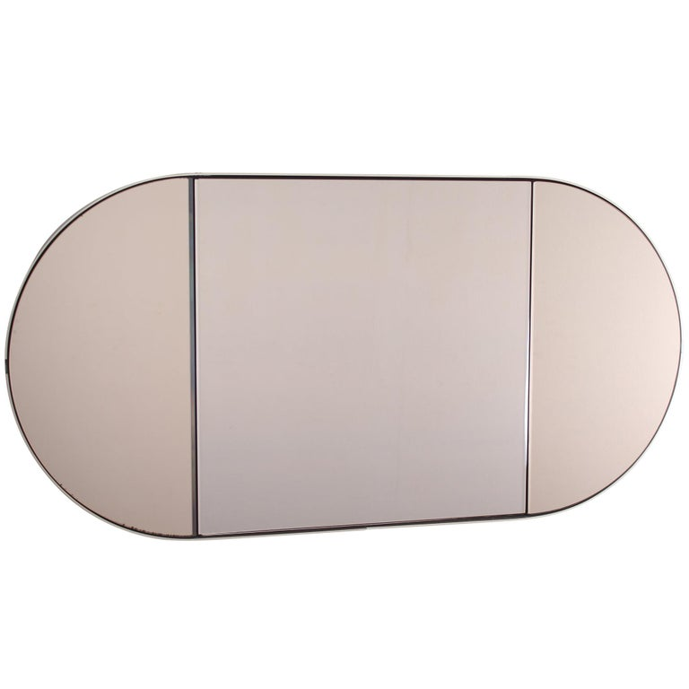 Vintage Brown Wood Brass and Oval Mirror, Italy, 1960s For Sale