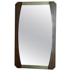 Vintage Brown Wood Brass Mirror, Italy, 1960s