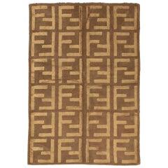 """Vintage Brown Wool&Silk European """"FENDI"""" Rug, Mid 20 Century"""