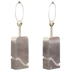 "Vintage Brushed Steel ""Waterfall"" Lamps by Pierre Cardin"