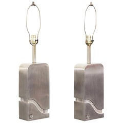 "Vintage Brushed Steel ""Waterfall"" Lamps by Pierre Cardin"