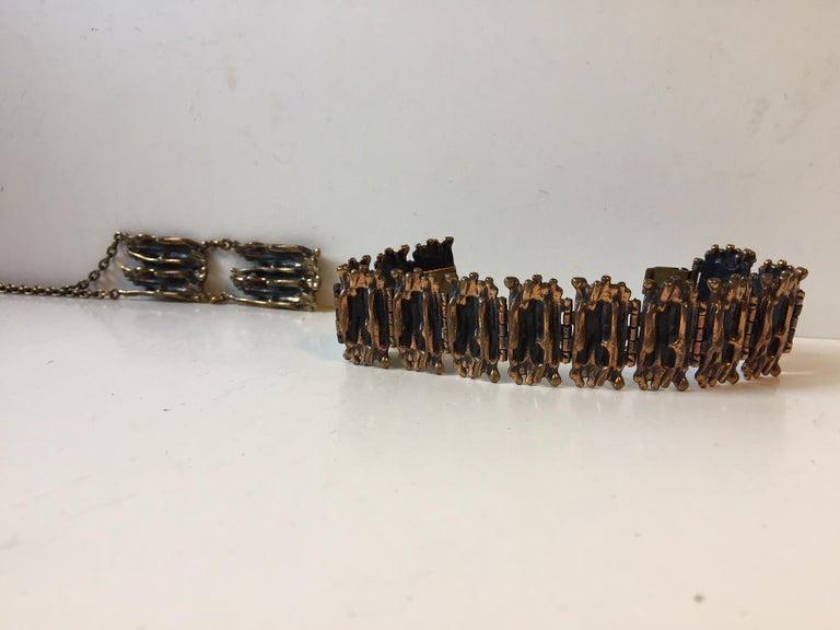 Finnish Vintage Brutalist Bronze Necklace & Bracelet by Pentti Sarpaneva, Finland, 1960s For Sale