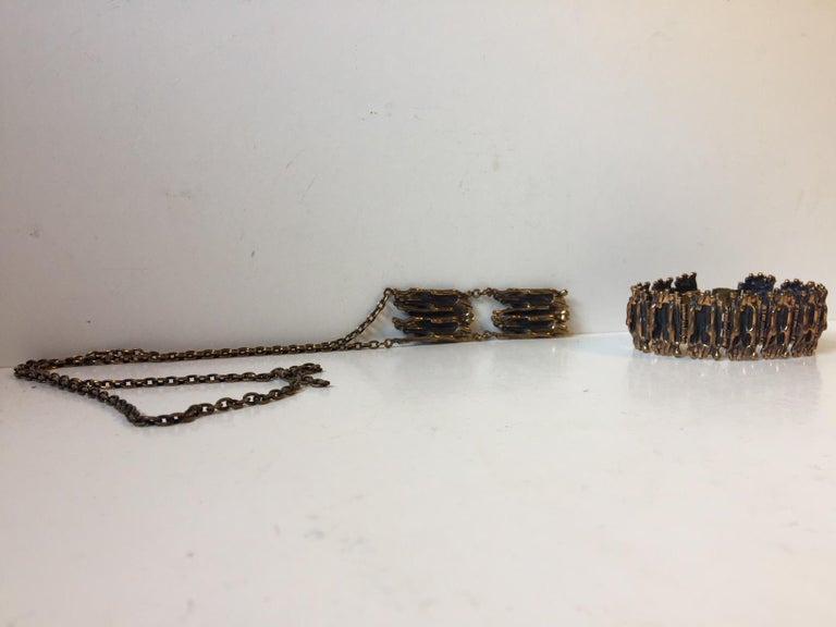 Vintage Brutalist Bronze Necklace & Bracelet by Pentti Sarpaneva, Finland, 1960s For Sale 1