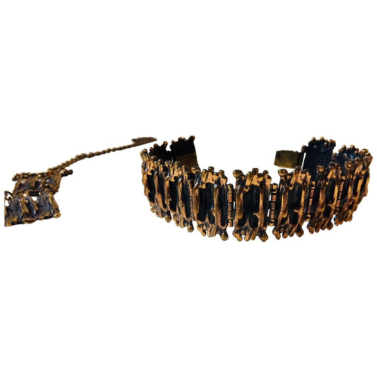 Vintage Brutalist Bronze Necklace & Bracelet by Pentti Sarpaneva, Finland, 1960s For Sale
