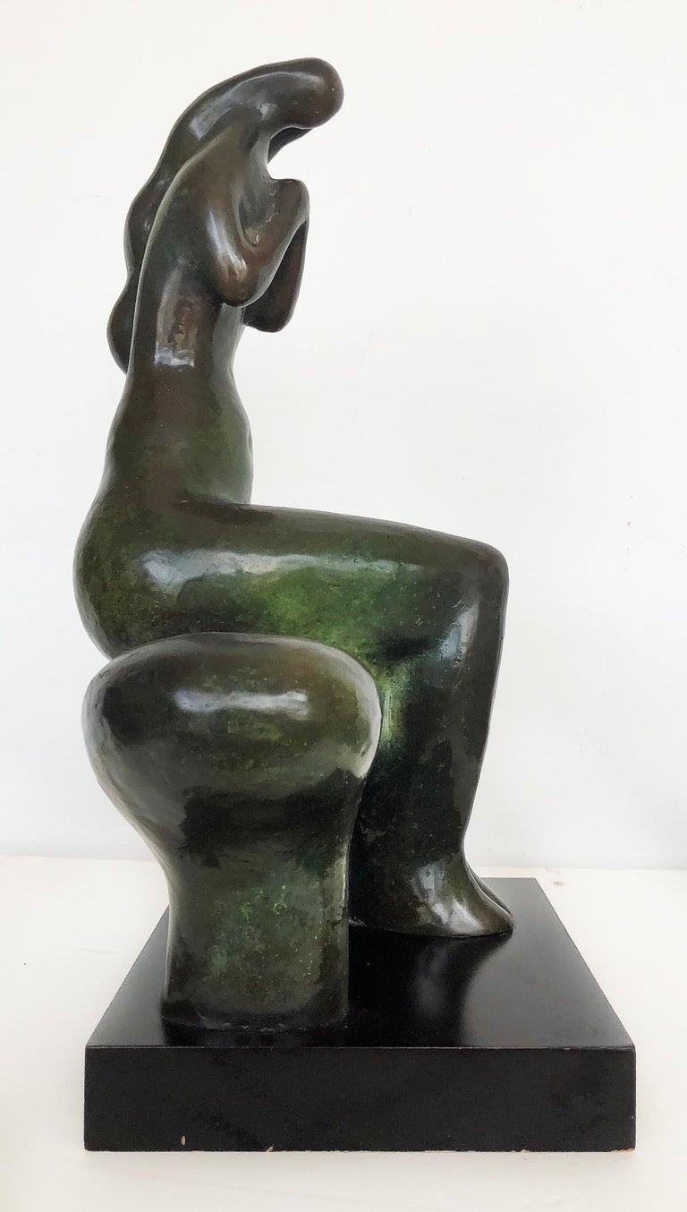Patinated Vintage Brutalist Bronze Nude Sculpture by Dorter Berner, Namibia For Sale