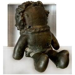 Vintage Brutalist Bronze Raggedy Ann Doll Sculpture on Lucite