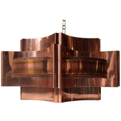 Vintage Brutalist Ceiling Lamp in Copper by Svend Aage Holm Sørensen, 1960s