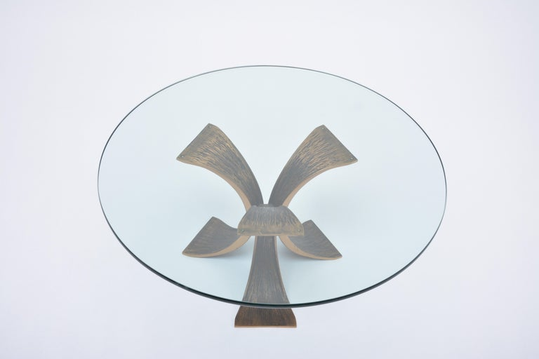Belgian Vintage Brutalist Coffee Table Made of Bronze and Glass For Sale
