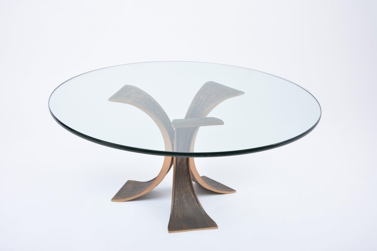 20th Century Vintage Brutalist Coffee Table Made of Bronze and Glass For Sale