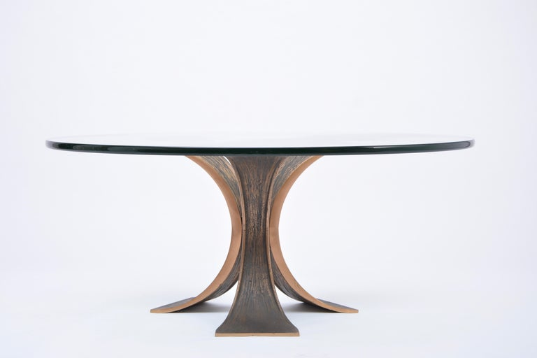 Vintage Brutalist Coffee Table Made of Bronze and Glass For Sale 1