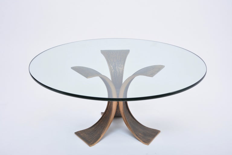 Vintage Brutalist Coffee Table Made of Bronze and Glass For Sale 2