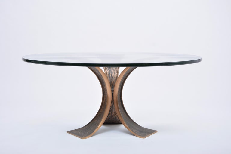 Vintage Brutalist Coffee Table Made of Bronze and Glass For Sale 3