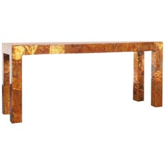 Vintage Brutalist Copper Patchwork Console Table