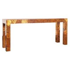 Vintage Brutalist Copper Patchwork Console Table