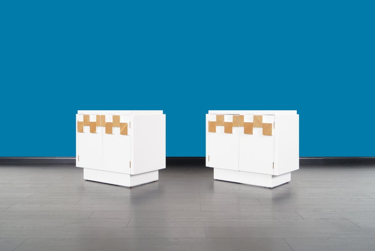 Mid-Century Modern Vintage Brutalist Mosaic Nightstands by Lane For Sale