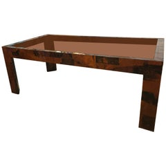 Vintage Brutalist Patchwork Mixed Metal Dining Table