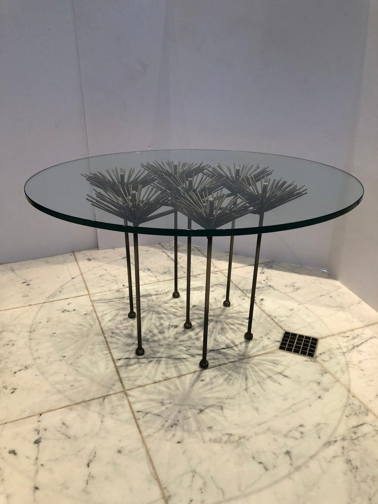 American Vintage Brutalist Style Polished Steel Round Side Table For Sale