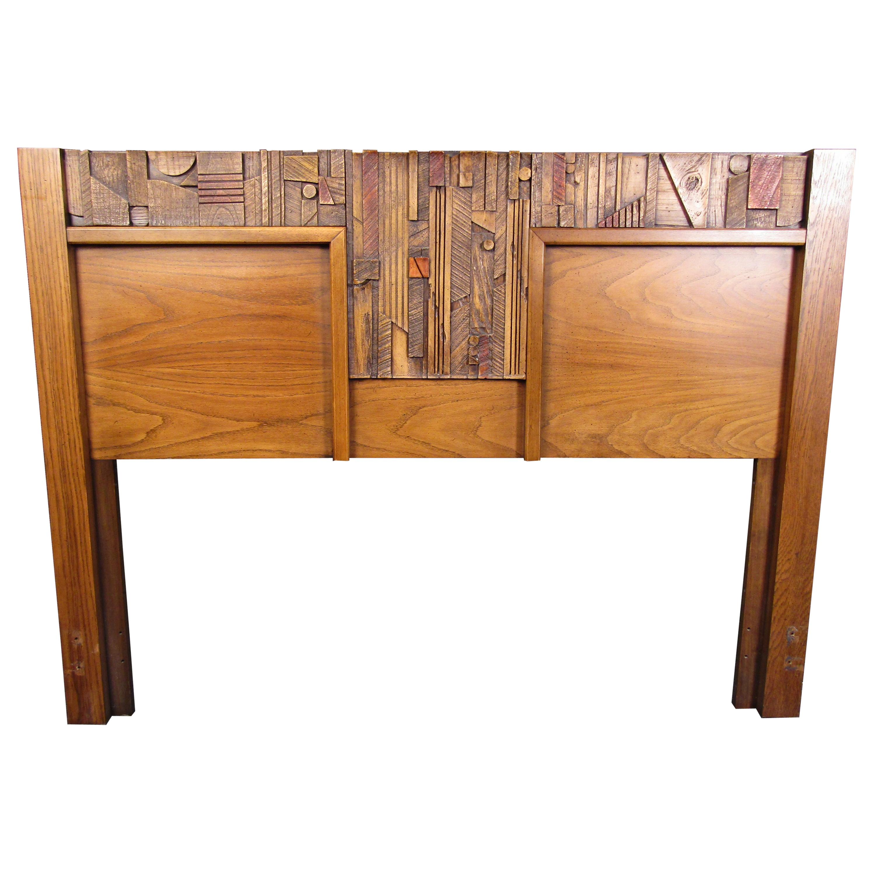 Vintage Brutalist Wooden Headboard by Lane Furniture