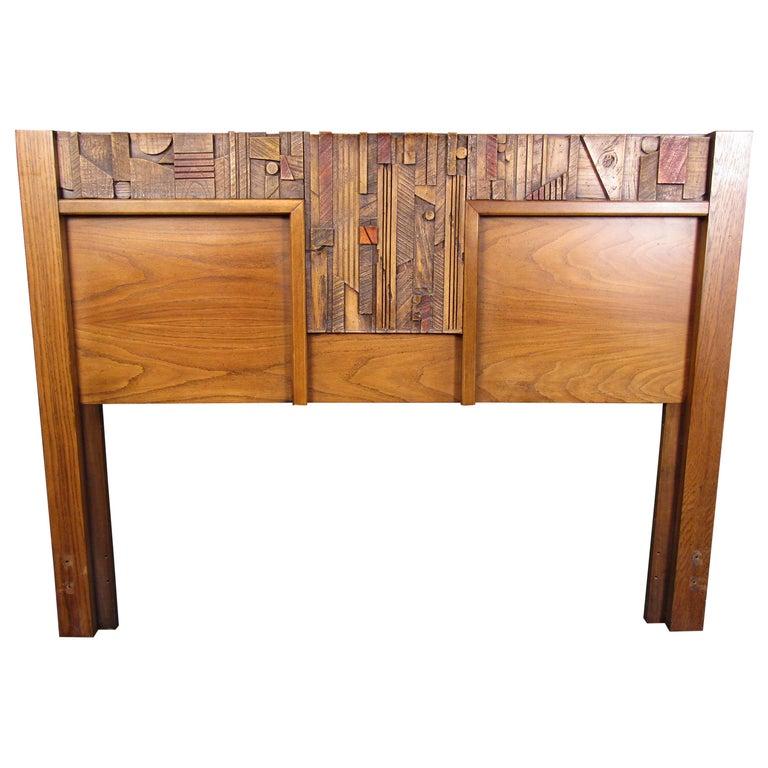 Vintage Brutalist Wooden Headboard by Lane Furniture For Sale